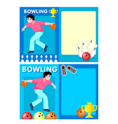 light bowling club flyers vector image vector image