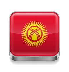 Metal icon of Kyrgyzstan vector image vector image