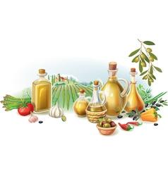 Olive harvest against rural landscape vector image vector image