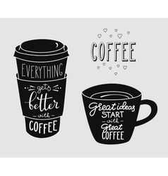 Quote lettering on coffee cup shape set vector image