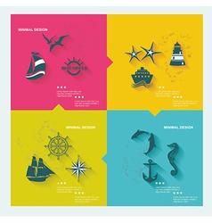 Set of sea labels flat design vector image vector image