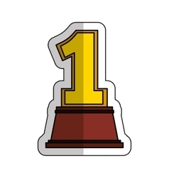 Trophy number one award isolated icon vector