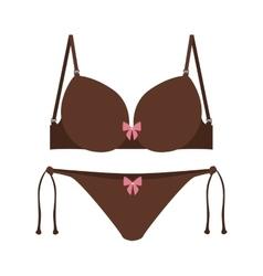 brown set bikini with bow vector image vector image