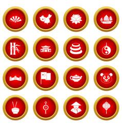 China travel symbols icon red circle set vector