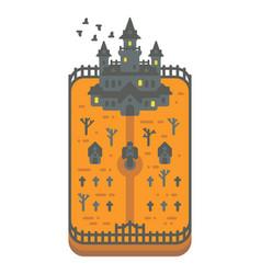 Flat design haunted mansion vector