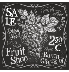 grapes logo design template fresh fruit vector image vector image