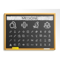 Medical hand drawing line icons chalk sketch sign vector image