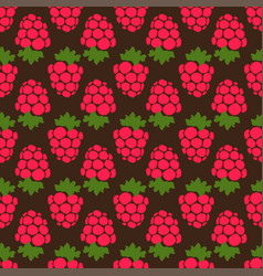 seamless raspberry background brown pattern vector image vector image