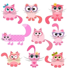set of pink and red cats vector image vector image
