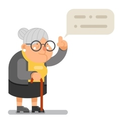 Wise Teacher Guidance Granny Old Lady Character vector image