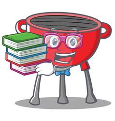 Geek barbecue grill cartoon character vector