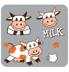 image of a cheerful spotty cow vector image