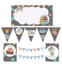 set of birthday party elements set of birthday vector image