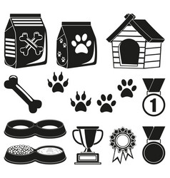 12 black and white pet care elements silhouette vector