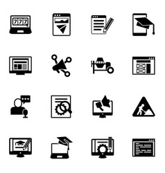 16 site filled icons set isolated on white vector