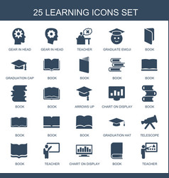 25 learning icons vector