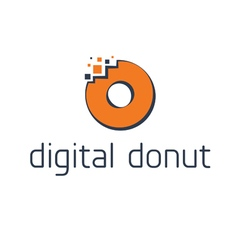 Abstract digital donut with pixel vector image