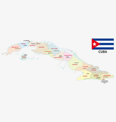 Administrative map cuba with flag vector