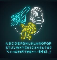 Aerospace industry neon light concept icon space vector