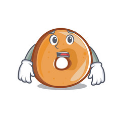 Afraid bagels mascot cartoon style vector