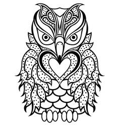 Amusing beaky owl black outline vector