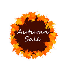 autumn sale banner with fall leaves seasonal vector image