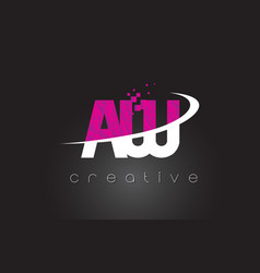 Aw a w creative letters design with white pink vector