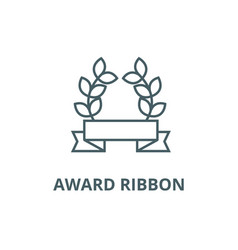 award ribbon with leafs line icon award vector image