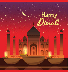 beautiful greeting card for holiday diwali with vector image