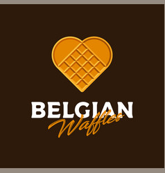 Belgian waffles logo like heart love sweets vector