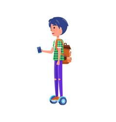 boy rides on segway personal transporter gyroboard vector image