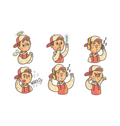 Boy showing different emotions set funny male vector