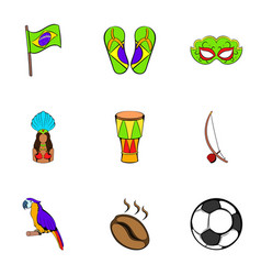 brazil statue icons set cartoon style vector image
