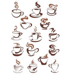 Brown cups coffee cappuccino espresso latte or vector