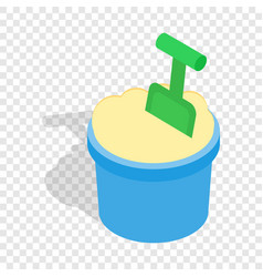 Bucket of sand and shovel isometric icon vector