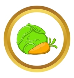 Cabbage and carrots icon vector