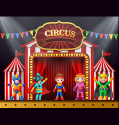 cartoon children in different costume on the stage vector image