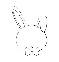 cartoon rabbit with bow vector image