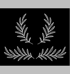 Chalk style white olive branches and wreath vector