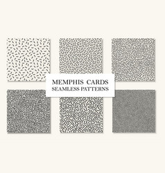 Collection of seamless memphis patterns cards vector