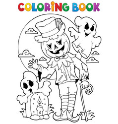 coloring book halloween character 9 vector image