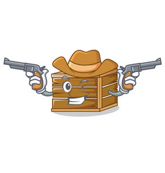cowboy crate character cartoon style vector image