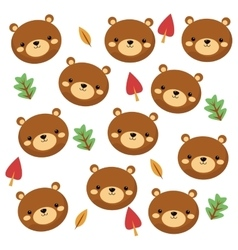 cute bear cartoon pattern background vector image