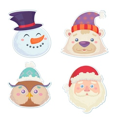 Cute Christmas characters head stickers vector image