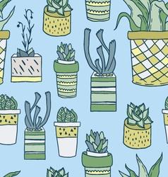Cute hand drawn terrariums houseplants and cacti vector