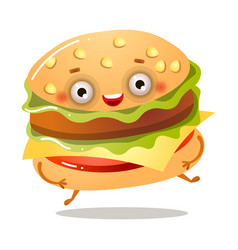 Cute smiling fresh american burger is running away vector