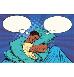 Dreamer man in bed hugging a pillow vector