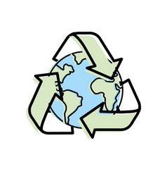 Earth planet with recycle symbol design vector