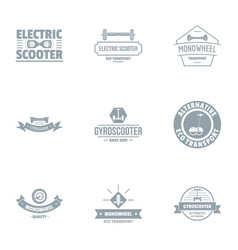Electric scooter logo set simple style vector