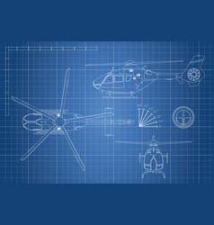 Engineering blueprint helicopter vector